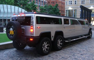 Silver Double Axle Hummer Limo hire West Midlands